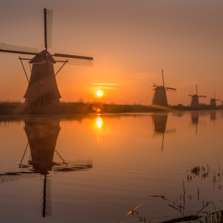 Sunrise at Kinderdijk, Canon EOS 1200D