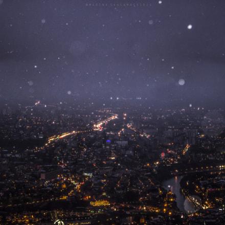 Snowy cloud above Tbilisi