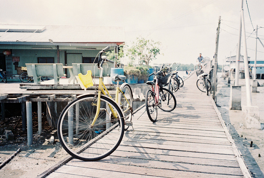 Bicycle is the main and the only transportation in Crab Island, Selangor, Malaysia.