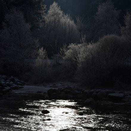 Mystic river in cold winter