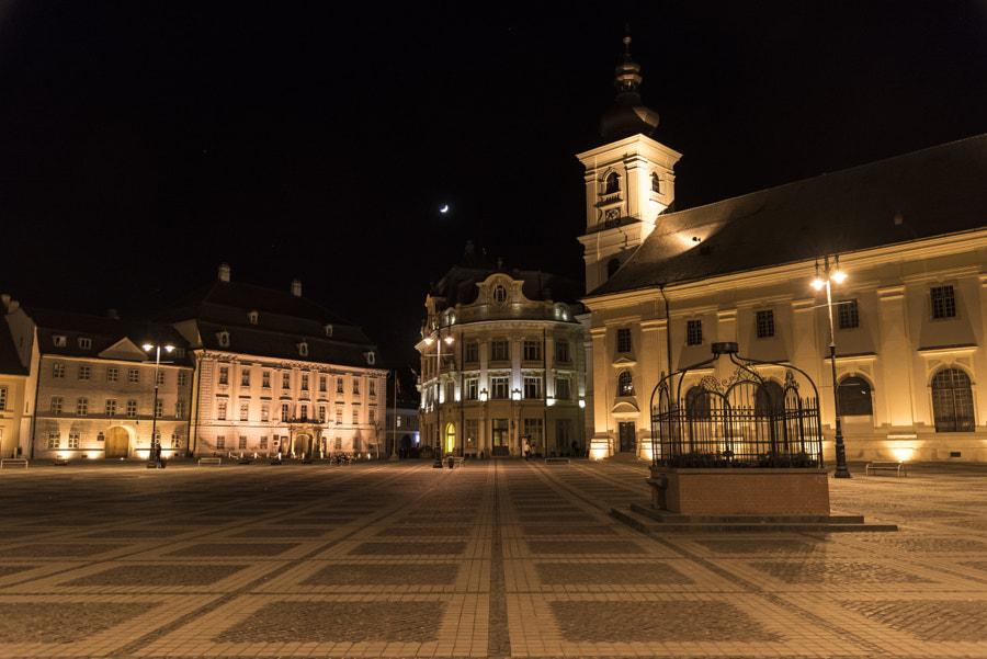 View of Piata Mare, Sibiu, Romania