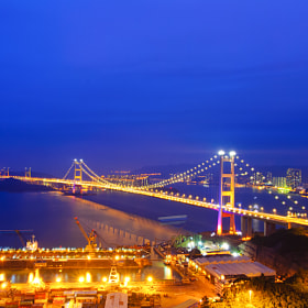 Tsing Ma Bridge (Night) by Hei Yu (HeiYu)) on 500px.com