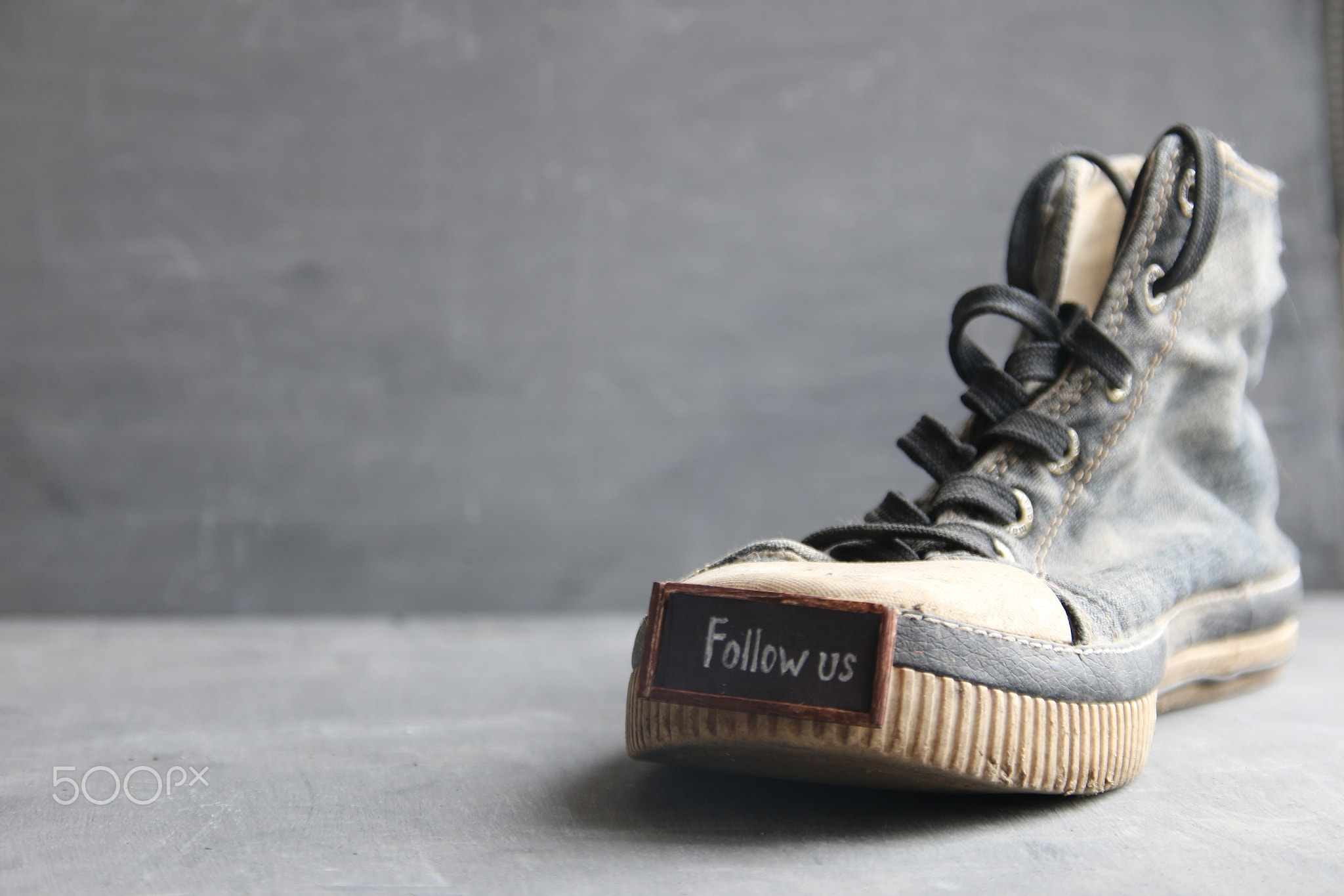Follow us label for social networks and Vintage Sneakers
