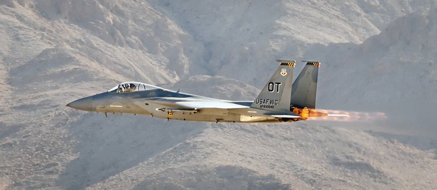 An F-15 Eagle from the USAF Weapons School at Nellis AFB