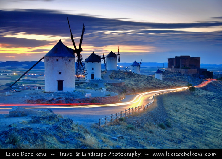Photograph Spain - Castilla-La Mancha - Toledo - Consuegra Windmills at Sunset by Lucie Debelkova -  Travel Photography - www.luciedebelkova.com on 500px