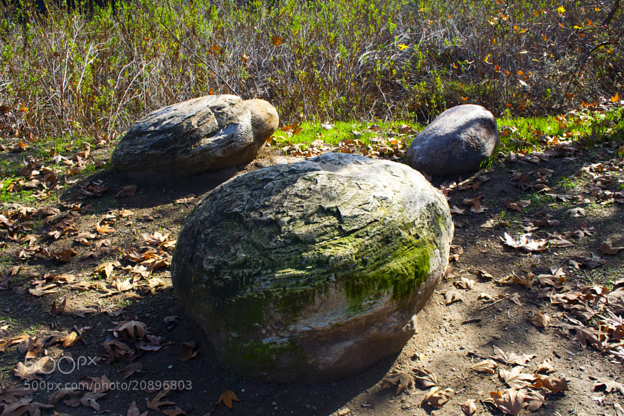 Three rocks on one of the hiking trails in Tarzana.