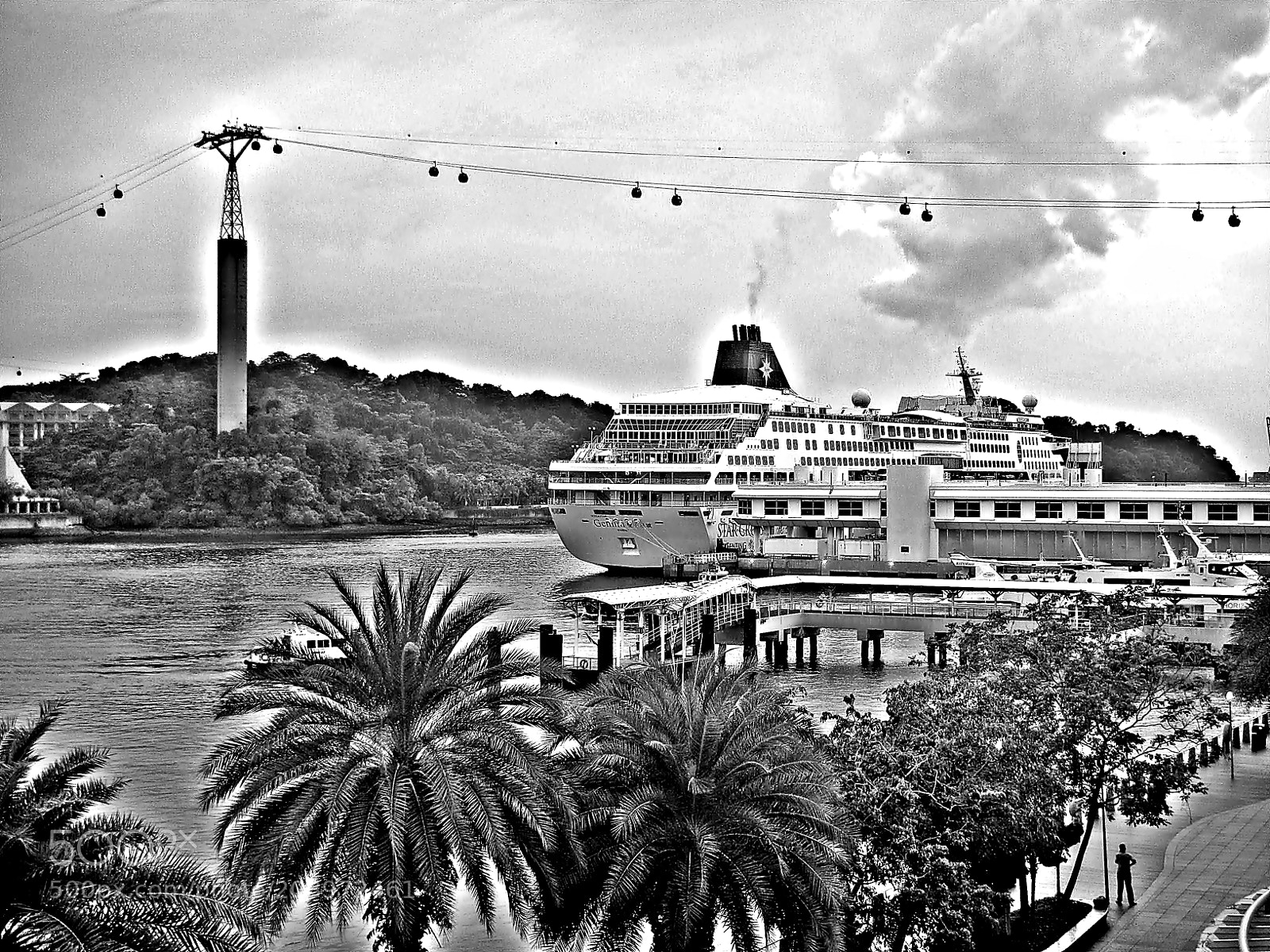 """Nikon Coolpix S1200pj sample photo. """"Habour in bw, singapore"""" photography"""