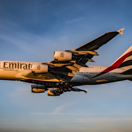 Emirates Airbus A380 on, Olympus PEN-F, SIGMA 30mm F2.8 DN