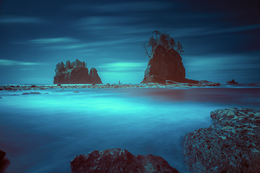 Beach with sea stacks in moody lighting by William Lee