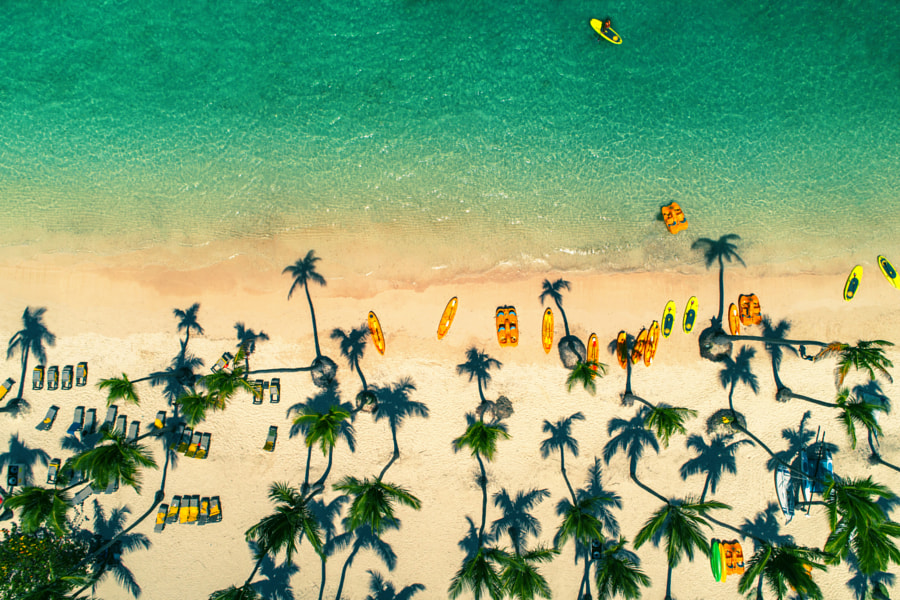 Aerial view of tropical beach, Dominican Republic by Valentin Valkov on 500px.com