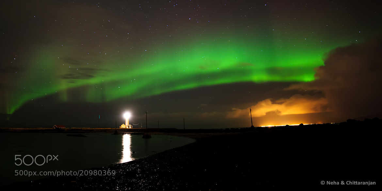Photograph Aurora Borealis on the Reykjavik Lighthouse by Neha & Chittaranjan Desai on 500px