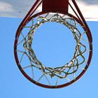 Basketball hoop at empty park.