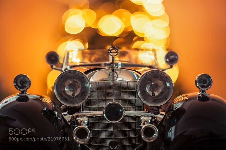 vintage toy car and bokeh