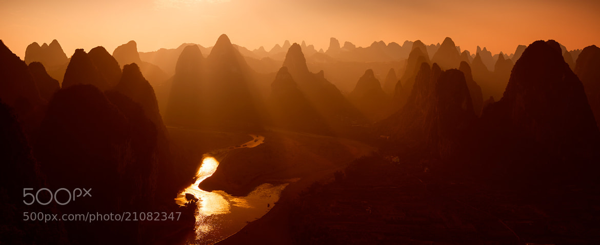 Photograph Sunset over Li river by Sergey Kuznetsov on 500px