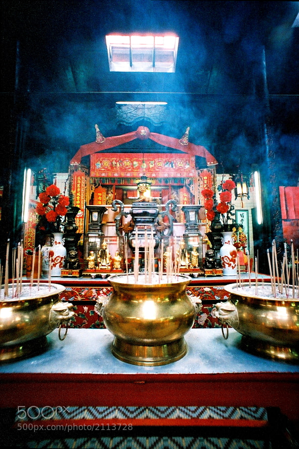 At Chinese temple near China Town, Petaling Street area, Kuala Lumpur, Malaysia.