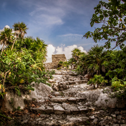 Stairs to the Mayan Temple of the Wind in Tulum, Mexico