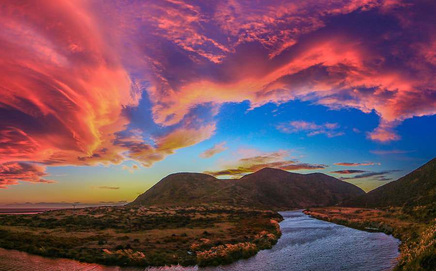 Wainuiomata Fiery Evening by MichaelJordanoff on 500px.com
