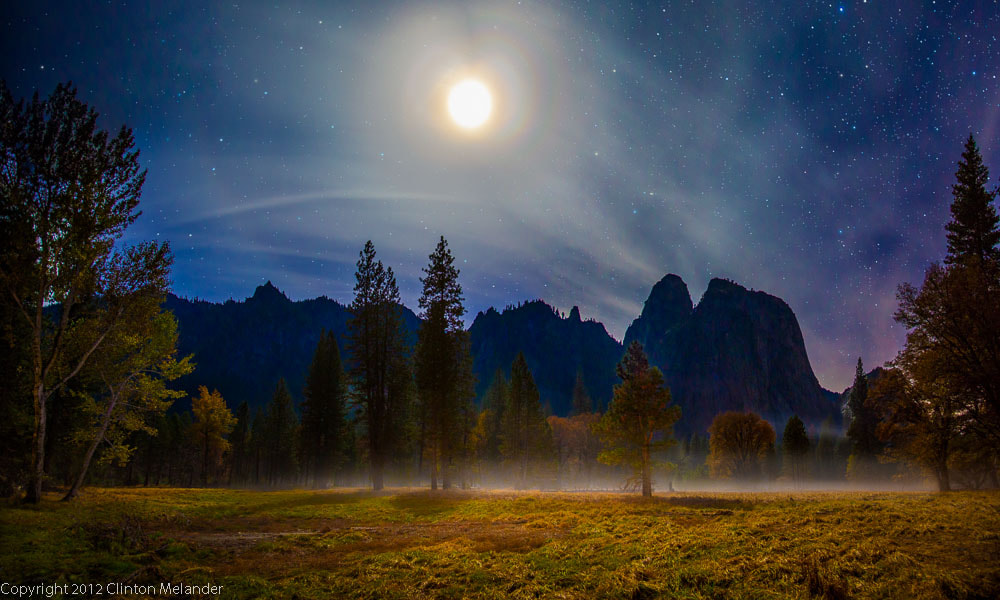 Photograph Moonlight meadow looking  toward Cathedral Rocks in Yosemite Park by Clinton Melander on 500px