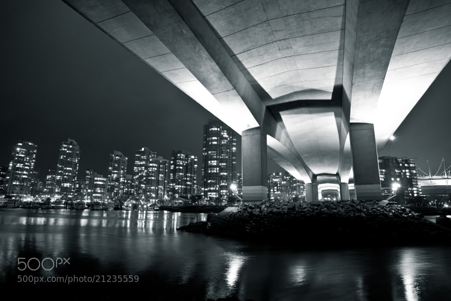 Underneath the Cambie St bridge in Vancouver looking towards Yaletown.  Unfortunately the tide was very low for this shot.
