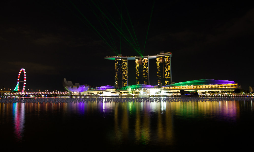 Photograph Marina Bay Sands Night Show by Hans Fischer on 500px