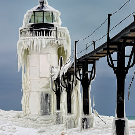 """Frozen Light"" St. Joseph Northpier Lighthouse, St. Joseph, Michigan"