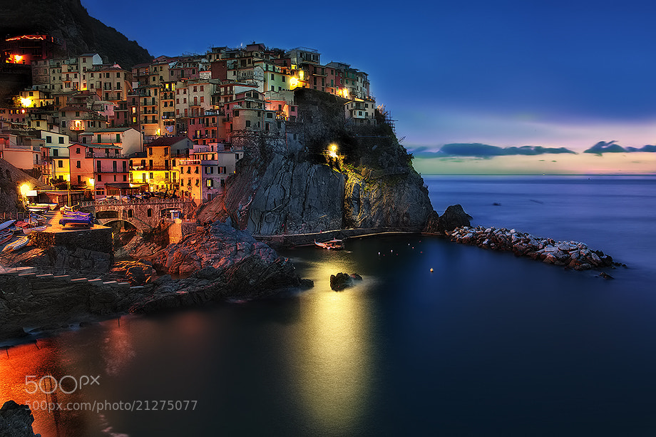 "Photograph Manarola at the ""Blue Hour"" by Roberto Becucci on 500px"