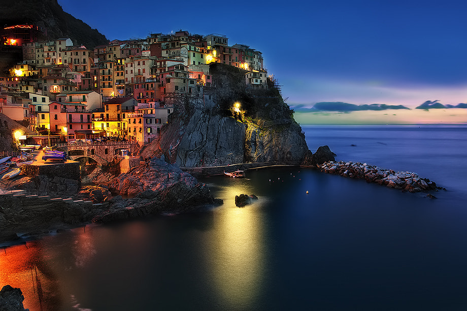 """Photograph Manarola at the """"Blue Hour"""" by Roberto Becucci on 500px"""