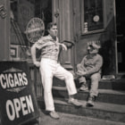 two men in front of cigar store, nyc