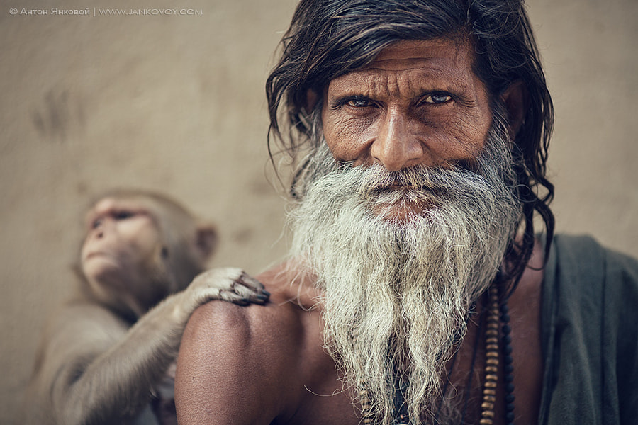 Sadhu and Monkey by Anton Jankovoy on 500px