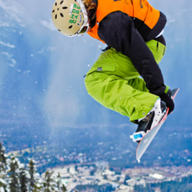Snowboarder at the Telus World Ski and Snowboard Festival Halfpipe Competition in Whistler, BC, 2007