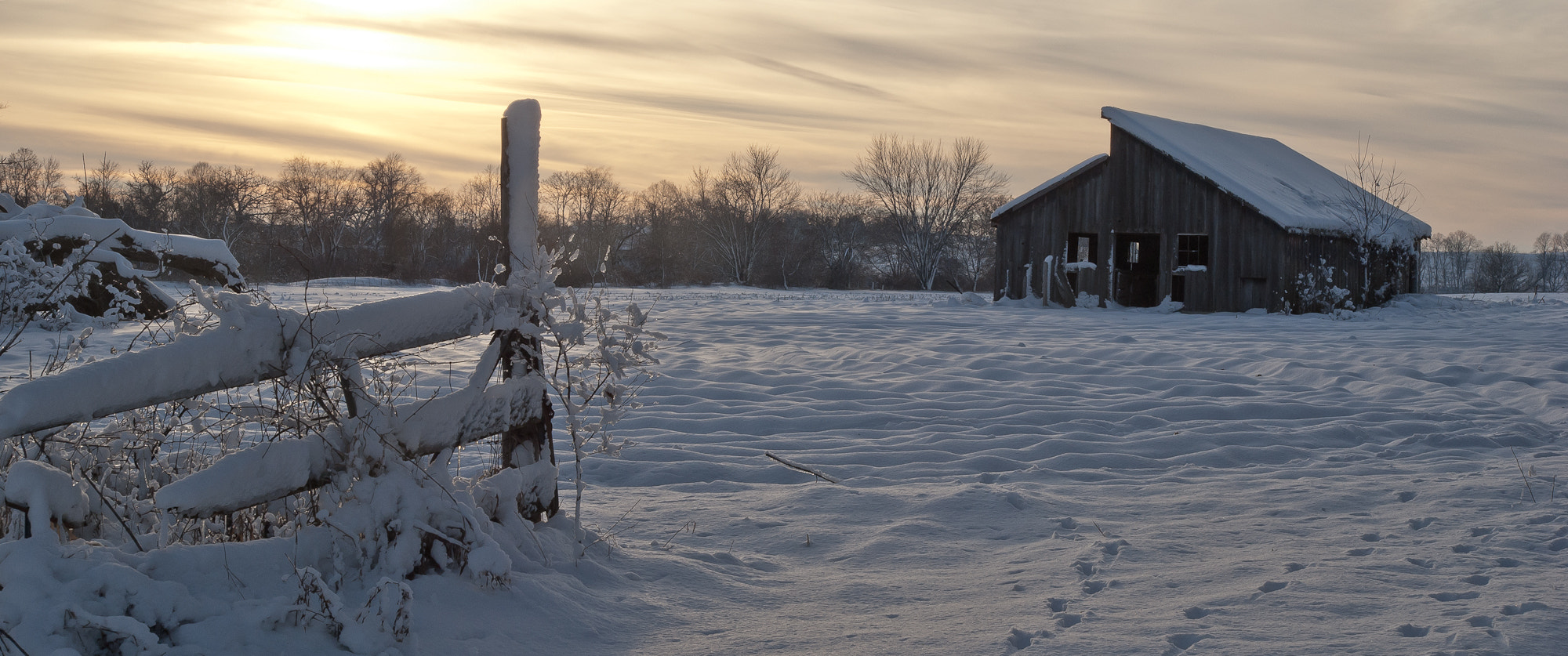 Photograph Snowy Fence and Old Barn by Scott Hull on 500px