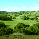 Rolling hills of ranch land in Calabasas on Mullholand Highway.