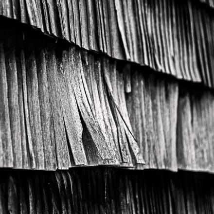Shingle wall of a barn.