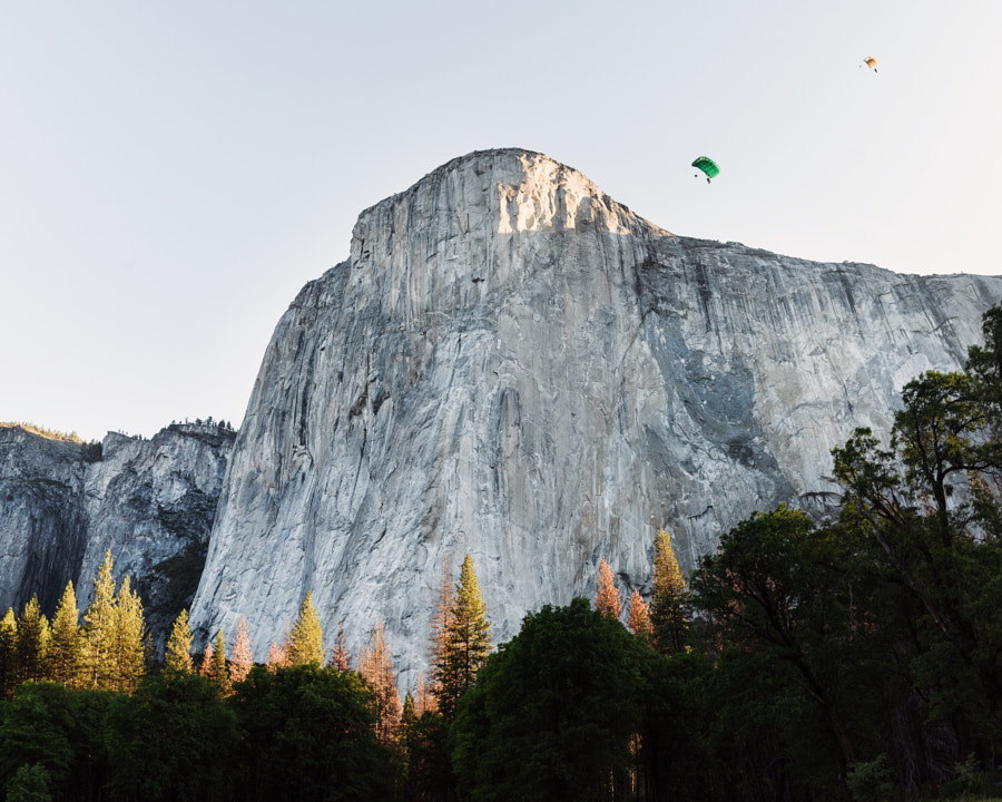 sunrise base jumping el capitan. yosemite. califor ... by Tanner Wendell Stewart on 500px.com