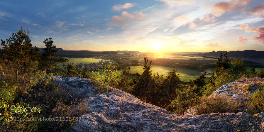 View from the Kaiserkrone Hill above Saxon Switzerland