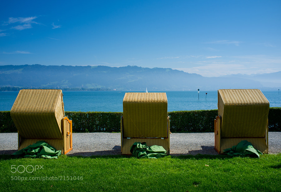 Beach chairs lined up at the Lake of Constance, Lindau, Germany