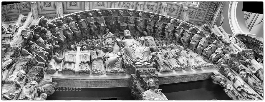Plaster cast of a Spanish cathedral entrance on display in the castings room of the Victoria and Albert Museum in London.