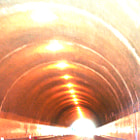 Extreme light shinning through the Sepulveda Tunnel which was built in 1930.