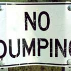 No dumping sign in the hills of Tarzana.