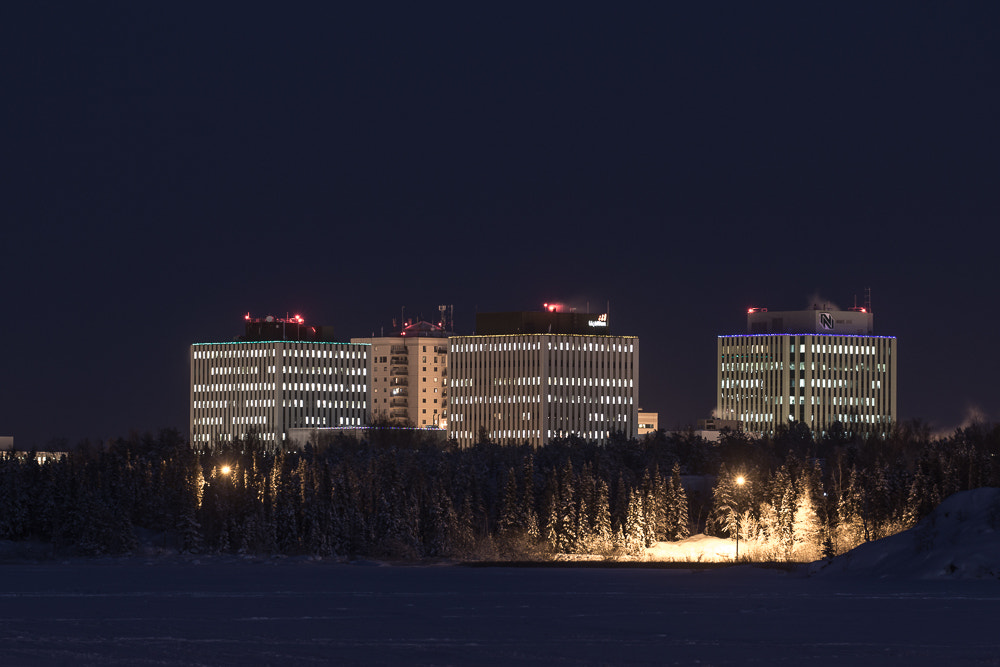 Photograph Yellowknife Commerce Buildings at Night by Ian Wills on 500px