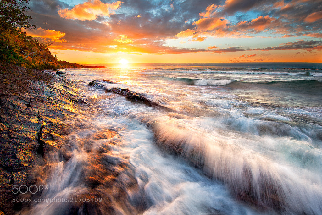 Photograph Keweenaw Sunset Breakers by Steve Perry on 500px
