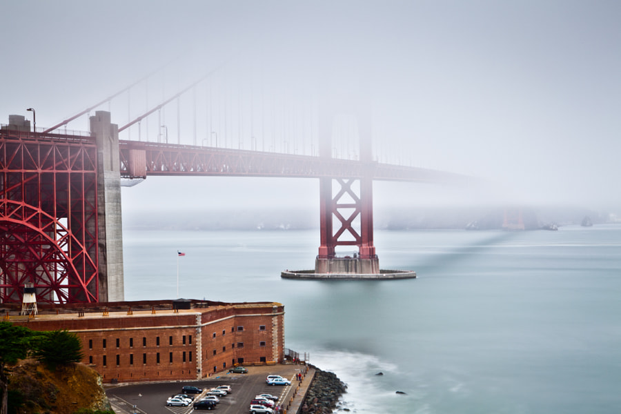 The mighty Golden Gate Bridge blanketed in fog.
