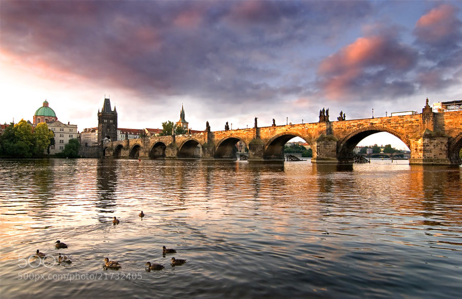 Vltava River and Charles Bridge, Prague, Czech Republic.