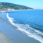 The beach on the south end of the Malibu pier.