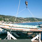 Lifeguard boat on the Malibu pier.
