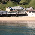 Houses on the Mailibu coast near the pier and Surfrider Beach.