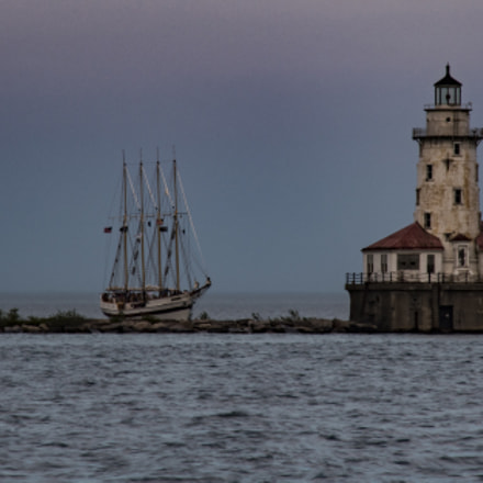 lighthouse and cutter