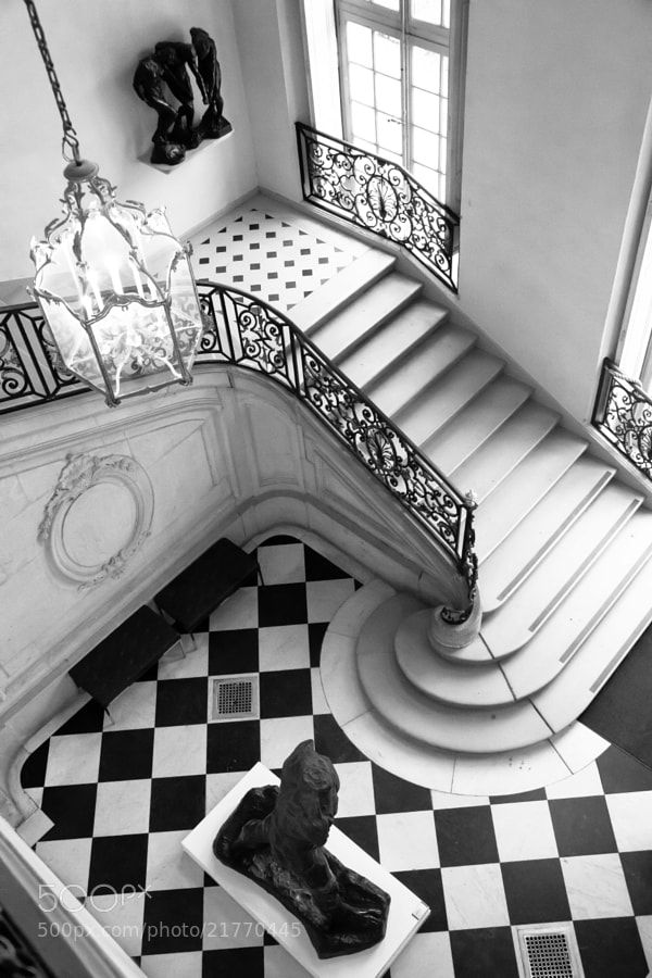 Recently taken at the Rodin Museum in Paris, France. The black and white atrium and staircase was incredibly elegant and striking.
