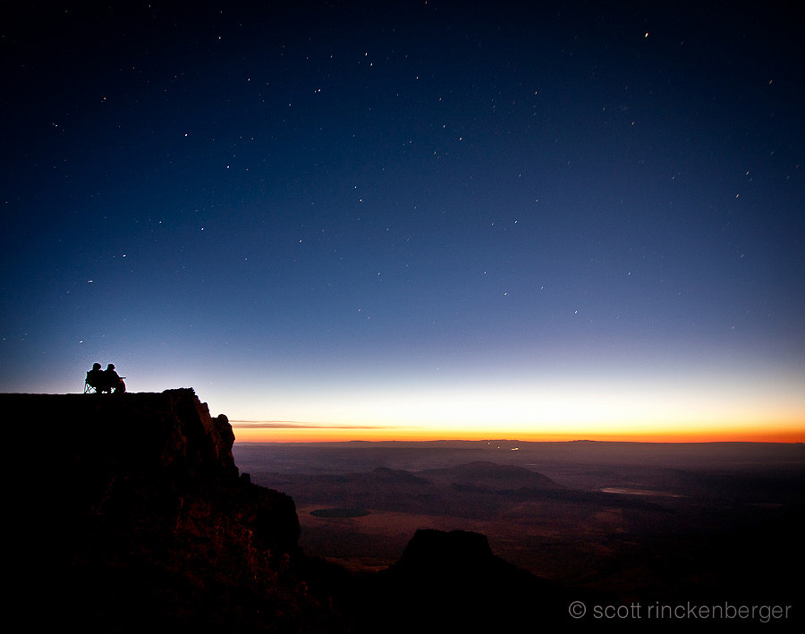 Self portrait with my wife.  Watching the sunrise atop Steens Mountain in SE Oregon.