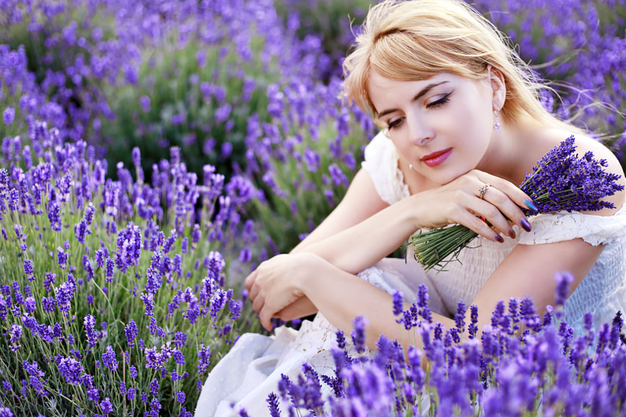 woman sitting at lavender field by Olena Zaskochenko on 500px.com